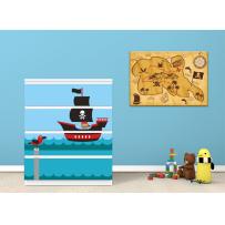 Möbelaufkleber für IKEA MALM Kommode 80 cm, 4 Schubladen, Beispiel